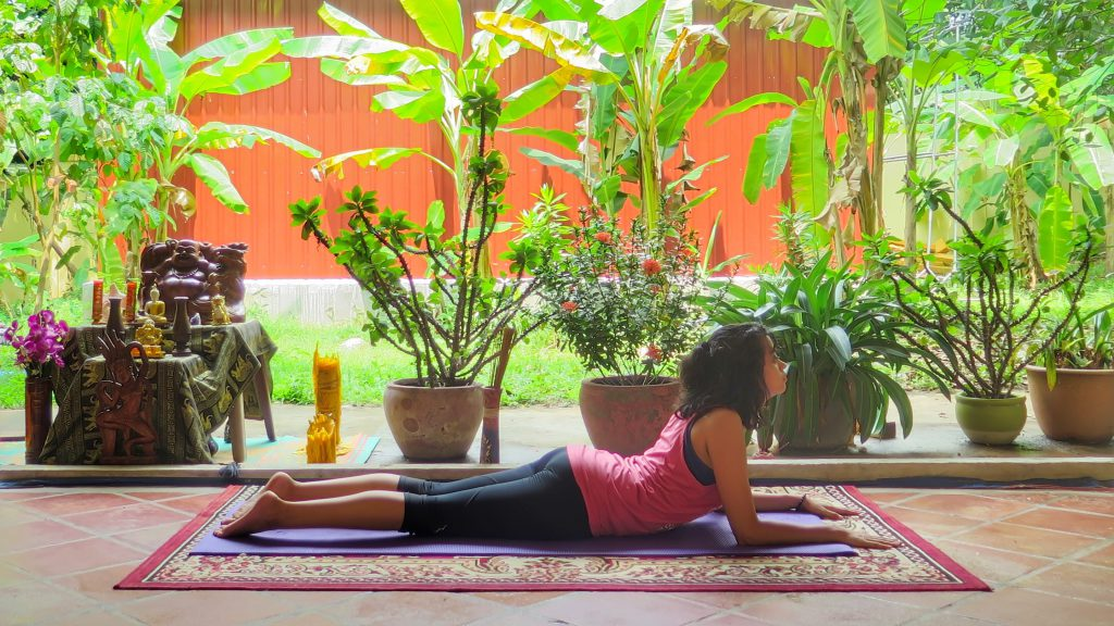 Sphinx pose in a yin style class