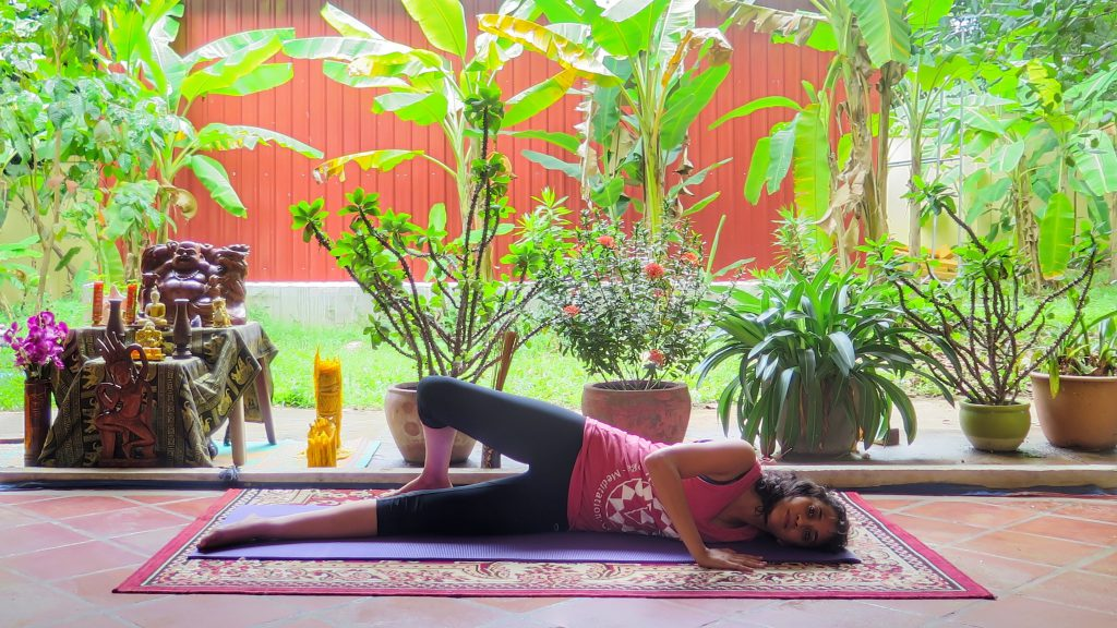 Shoulder Pigeon Pose in Yin style class